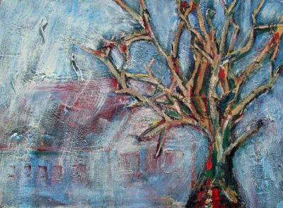 Klaus Becker - Oil on Canvas - Tree in fog - 56x72 cm
