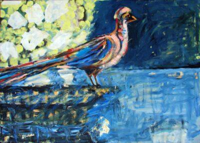 Klaus Becker - Oil on Canvas - Bird in rain forrest - 100x140 cm