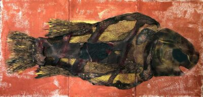 Klaus Becker-Spray paint on paper and wire netting-Extinct bonefish fossil-100x280 cm