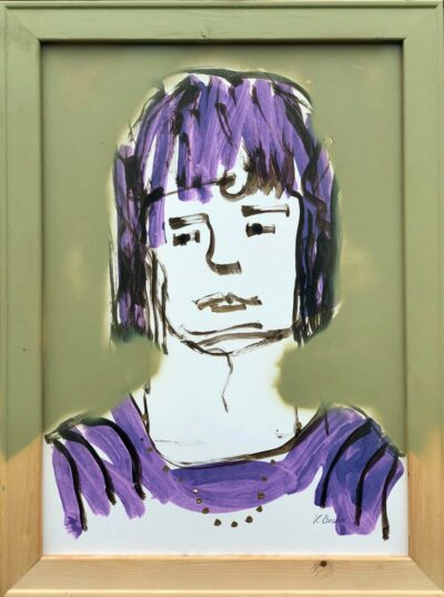 Klaus Becker-acrylic on carton-Girl with necklace-80x60 cm
