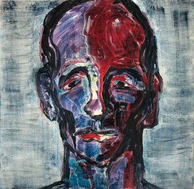 Klaus Becker-olie på lærred-rødt mandsportræt-60x60 cm