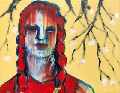 Klaus Becker-Öl auf Leinen-Apfelblühten-60x77 cm