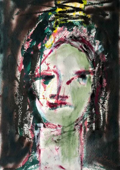 Klaus Becker-Sketch on paper-Portrait of a princess-100x80cm
