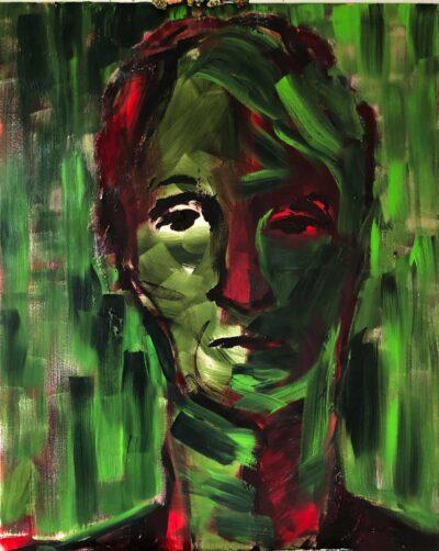 Klaus Becker-olie på lærred-grønt mandsportræt-100x80 cm