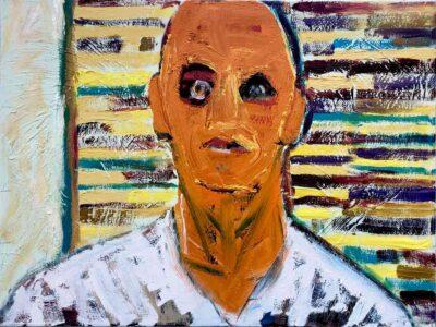 Klaus Becker-Oil on canvas-The neighbor behind the garden fence-60x80 cm