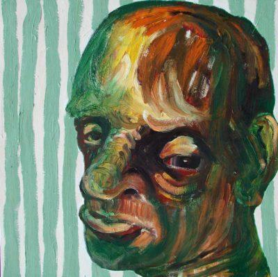 Klaus Becker - Oil on Canvas - Grønt portræt - 100x100cm