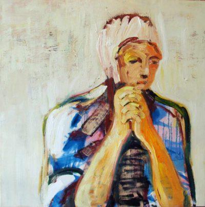 Klaus Becker - Oil on Canvas - Jeune femme 100x100cm