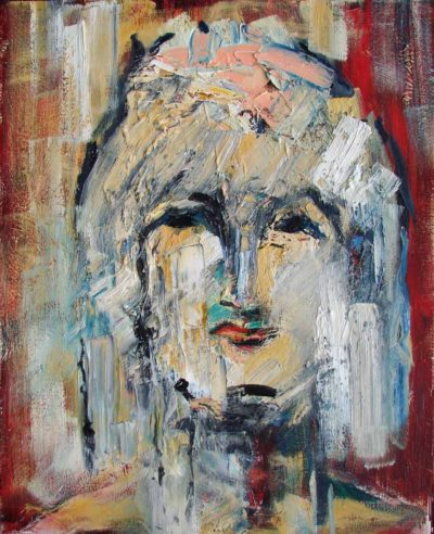 Klaus Becker - Oil on Canvas - Mädchen mit Schleife - 100x80cm