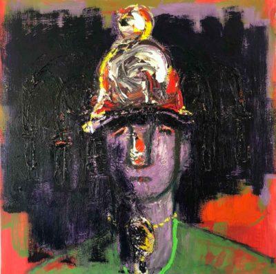 Klaus Becker - Oil on Canvas - Man with golden helmet - 100x100 cm