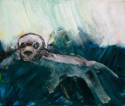 Klaus Becker - Oil on Canvas - Stange animal in water - 84x100 cm