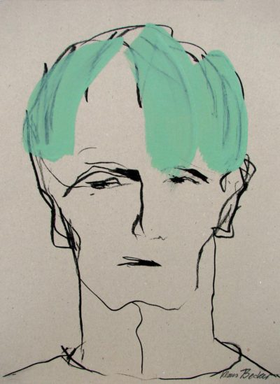 Klaus Becker - Sketch on Carton - Cheveux verts - 50x37 cm