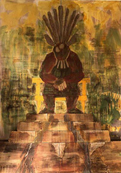 Klaus Becker-Acrylic on carton-The God of the bogs-200x175cm
